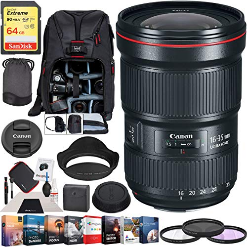 Canon EF 16-35mm f/2.8L III USM Lens Ultra Wide Angle Zoom 0573C002 EF Mount DSLR Cameras Premium Accessory Set with Deco Gear Backpack + Filter Kit + Photo Video Editing Software Bundle