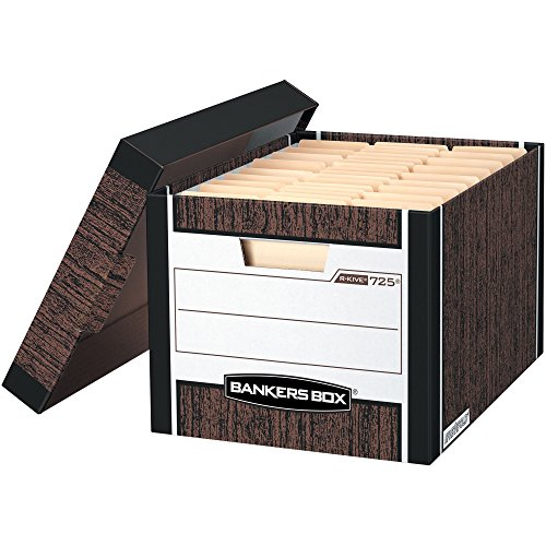 Fellowes Bankers Box Bankers Box R-Kive Woodgrain Storage Boxes - 8 Carton