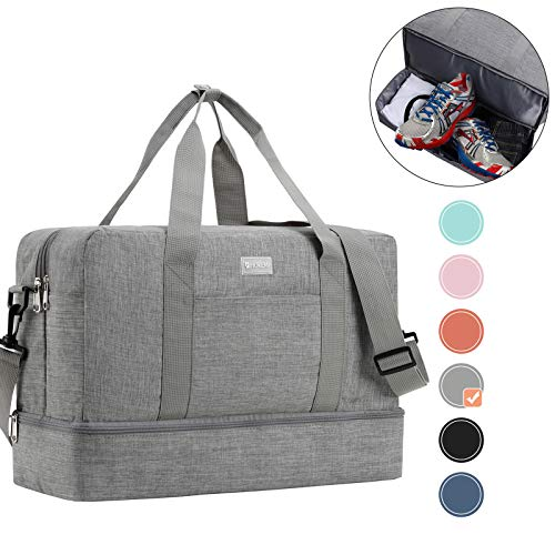 HOKEMP Sports Gym Bag with Wet Bag & Shoes Compartment, Swim Bag Travel Duffel Bag Lightweight Luggage Duffel 6 Color Choice (Gray-Large Size)