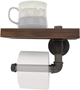 Darvish & Saints Rustic Industrial Style Iron Pipe Toilet Paper Holder with Solid Wood Shelf- Modern Retro Vintage Floating Heavy Duty Wall Mount Farmhouse Distressed, Towel Rack, Tissue Roll Bathroom