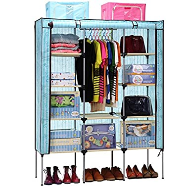 Aojia Hanging Rail Organiser, 125 x 43 x 160 cm, Canvas, Blue