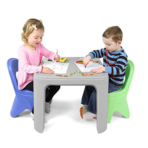 Simplay3 Kids Durable Play Around Table and Chair Set (Hard Wood Table)