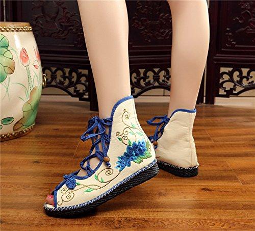 Avacostume Womens Loto Ricamo Cucito A Lacci Sandalo Scarpe Blu