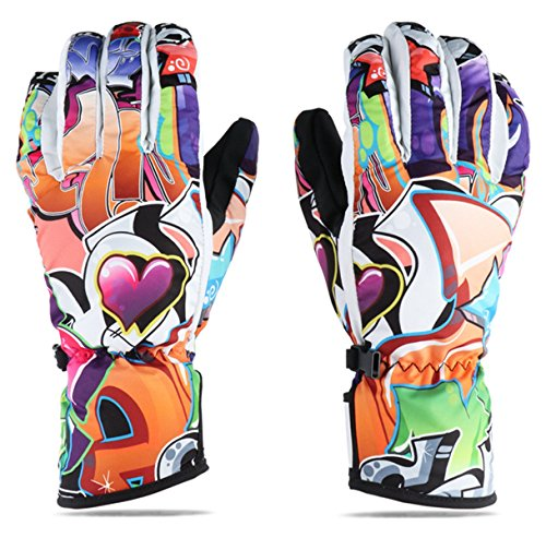 Ski Gloves, GANZTON Outdoor Winter Wind & Water Proof 3-Finger-Gloves Mittens for Skiing Climbing Snowboarding Cycling stars L