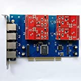 Quad Span Analog FXO Card with 4 FXO Ports Supports Elastix FreePBX Asterisk Card PCI