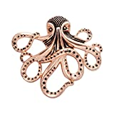 MANZHEN Vintage Black Spotted Nautical Octopus Magnet Brooch Badge Eyeglass Holder (Antique red bronze)