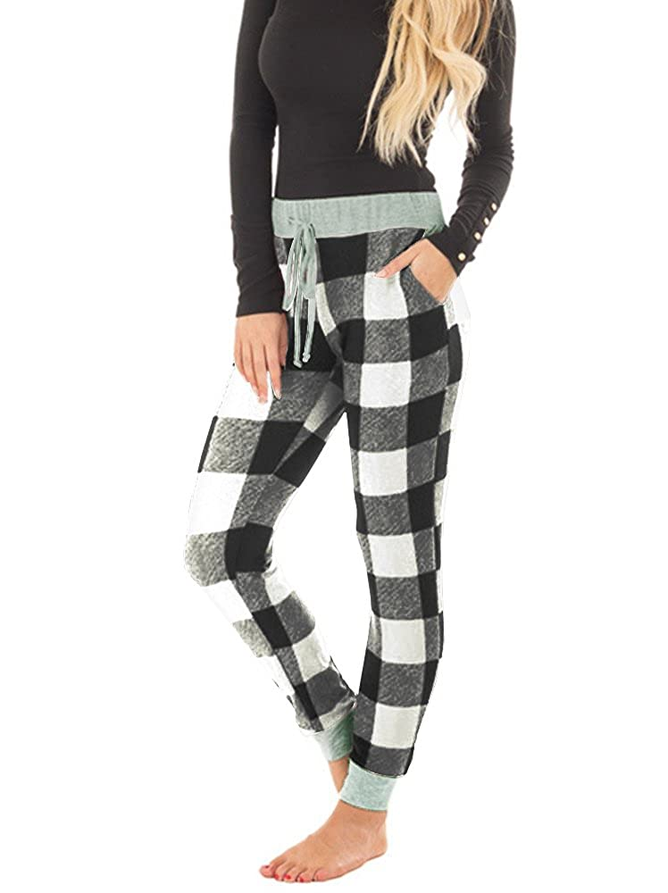 Tutorutor Womens Fashion Plaid Jogger Pants Lounge Sleep Sweatpants Stretch Cotton Pant