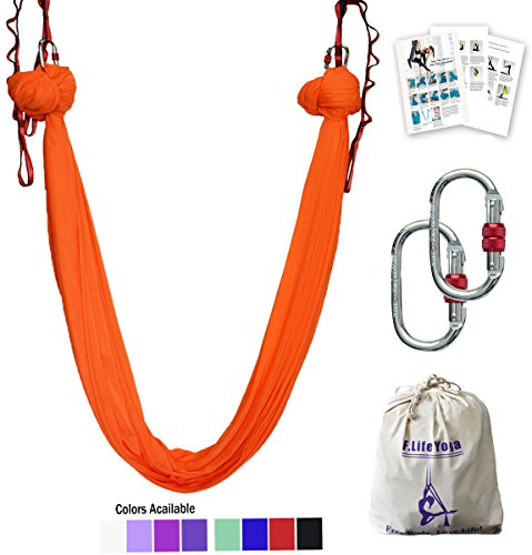 F.Life Aerial Yoga Hammock 5.5 Yards Include Daisy Chain,Carabiner and Pose Guide (Orange)