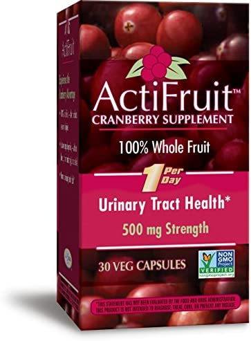 Enzymatic Therapy ActiFruitCranberry Supplement 100 Whole Fruit 500 mg One per day, 30 Count