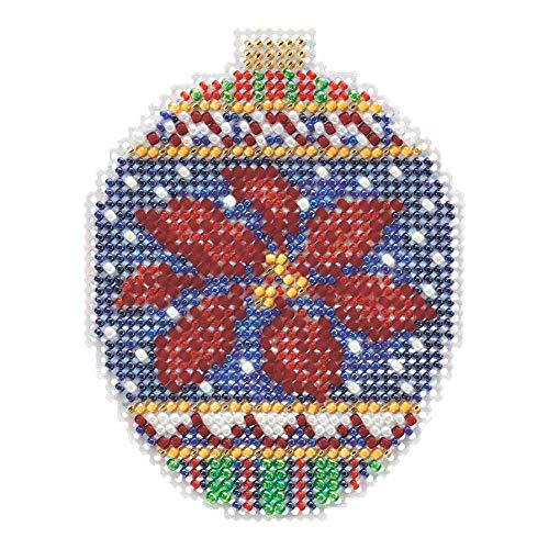 Christmas Poinsettia Beaded Counted Cross Stitch Ornament Kit Mill Hill 2018 Beaded Holiday MH211814