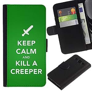 Be Good Phone Accessory // Caso del tirón Billetera de Cuero Titular de la tarjeta Carcasa Funda de Protección para Samsung Galaxy S3 III I9300 // Funny Keep Calm Creeper