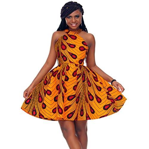 327776f1cd76 Shenbolen Women African Ankara Batik Print Traditional Clothing Casual  Party Dress