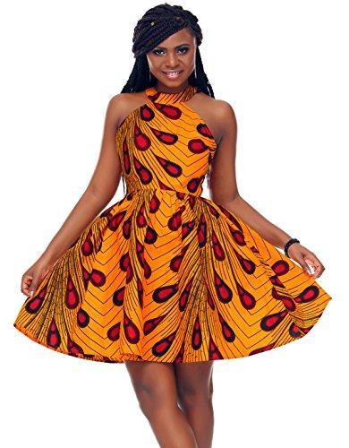 Clothing Print African - Shenbolen Women African Ankara Batik Print Traditional Clothing Casual Party Dress (XX-Large, Yellow)