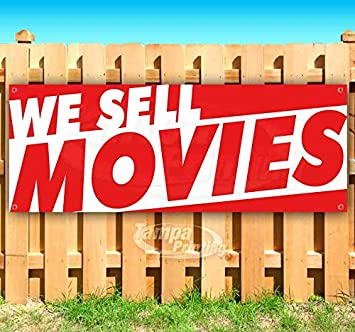 Many Sizes Available WE Sell Movies 13 oz Heavy Duty Vinyl Banner Sign with Metal Grommets Flag, Store Advertising New