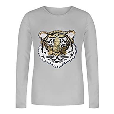 Girls Sequin Tiger Face 2 Way Brush Changing Sequins Long Sleeves 3-14Yrs 6145