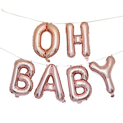 OH Baby Balloons Baby Shower Decorations - 16 Rose Gold Baby Balloon Letters with Blow Up Straw & 30 Feet Of Hanging Ribbon - Inflatable & Reusable Set of 6 Alphabetic Balloons