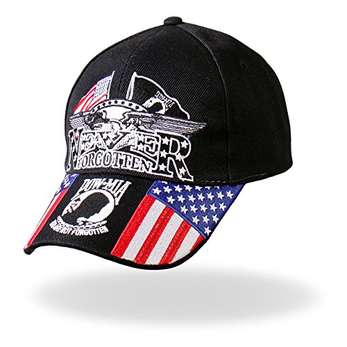 (Hot Leathers Iron Eagle POW Ball Cap (Black))