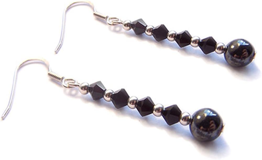 LunarraStar Pendientes de plata de ley 925 con piedras preciosas redondas de hematita y cristal negro azabache con cuentas perforadas