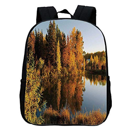 - Fall Decor Fashion Kindergarten Shoulder Bag,Lake in Sunset Rays Autumn Landscape Pond Woodland Outdoors Ecology Environment Decorative For Hiking,One_Size