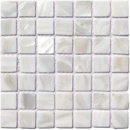 Yipscazo Mother of Pearl Shell Kitchen Backsplash 6X6, Sample Sheet Natural Shell Mosaic Wall Tile in White Shell