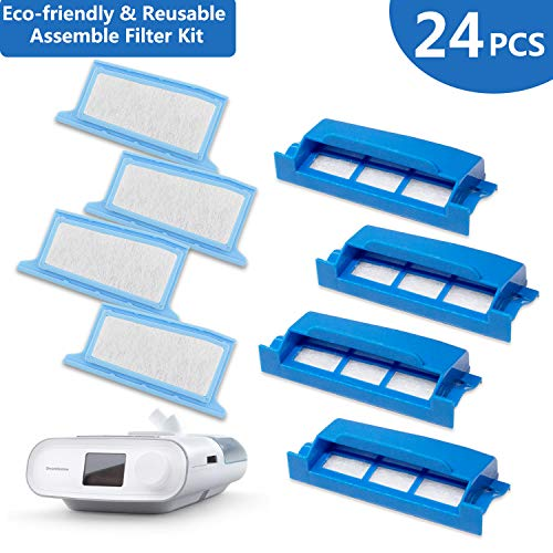 (CPAP Filters 24 Packs: Assemble Filter into Reusable Frame Kit - 4 Assembled Filters + 8 Ultra-fine + 8 Foam - Pollen & Hypoallergenic -Premium Universal Replacement Filter Supplies by Medihealer)