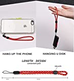 Phone-lanyard Male and Female Common Short Wrist Rope for Digital Camera, U Disk and Self-timer Key-lanyard(2pcs/pack,Same color) (red)