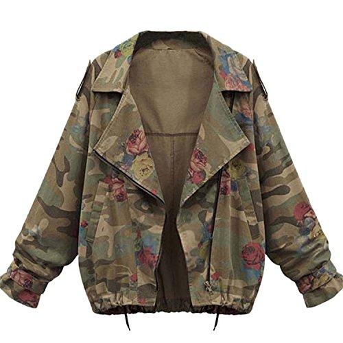 Imprime Avec Jacket Lapel Femmes Longues Courte Veste Manteau Vert Fleurs Casual Militaire Blouson Outwear Automne Blousons Camouflage Vestes Manches Trench Zipper Mode xwvztw