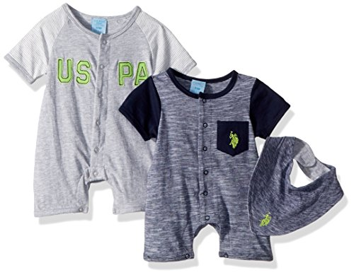 U.S. Polo Assn. Baby Boys Romper, Knit Pack bib Navy, 6-9 Months