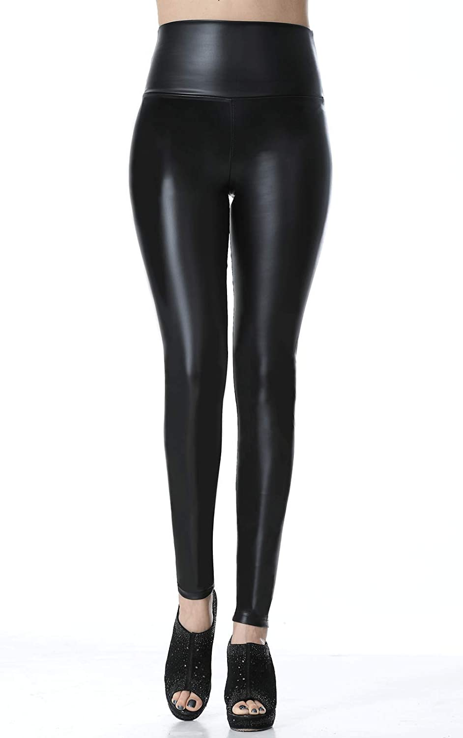 62b862488ff12 Everbellus Faux Leather Leggings for Women High Waist Skinny Leather Pants  Black at Amazon Women's Clothing store: