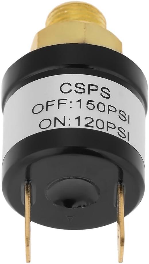 Interruptor de Presi/ón Interruptor de Presi/ón del Compresor de Aire Interruptor de Control de Presi/ón de Aire 120-150PSI 1//8NPT Accesorios de Compresor de Aire de Material Met/álico