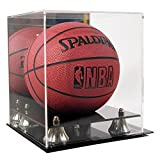 Deluxe Acrylic Mini Basketball Display Case w/ Mirror Back & Gold Risers