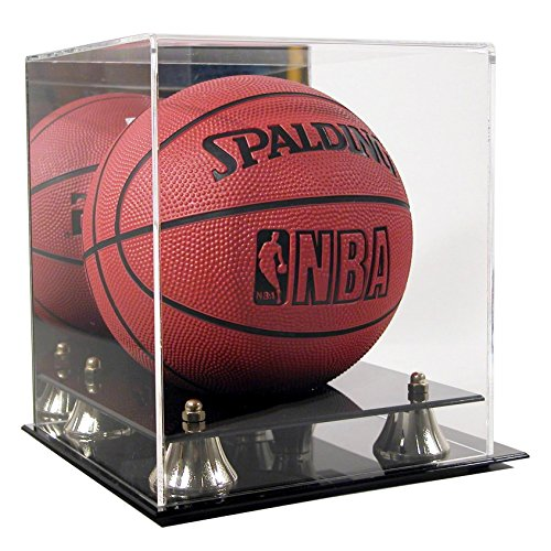 (SAFTGARD SUPPLIES Deluxe Acrylic Mini Basketball Display Case w/Mirror Back & Gold Risers )