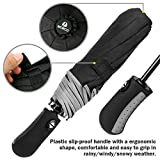 Auto-Open-Close-Umbrella-MCIRCO-Travel-Umbrella-Windproof-Compact-Automatic-Umbrella-Unbreakable-Lightweight-Foldable-Black-Rain-Umbrella-with-Slip-Proof-Handle-and-Safe-Reflective-Strip