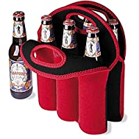 LingsFire 6 Pack Wine Bottle Protector, Wine Tote Bag,Insulated Wine Bag for Home Travel and Picnic, Carrier Bag with Secure Carry Handle(Red)
