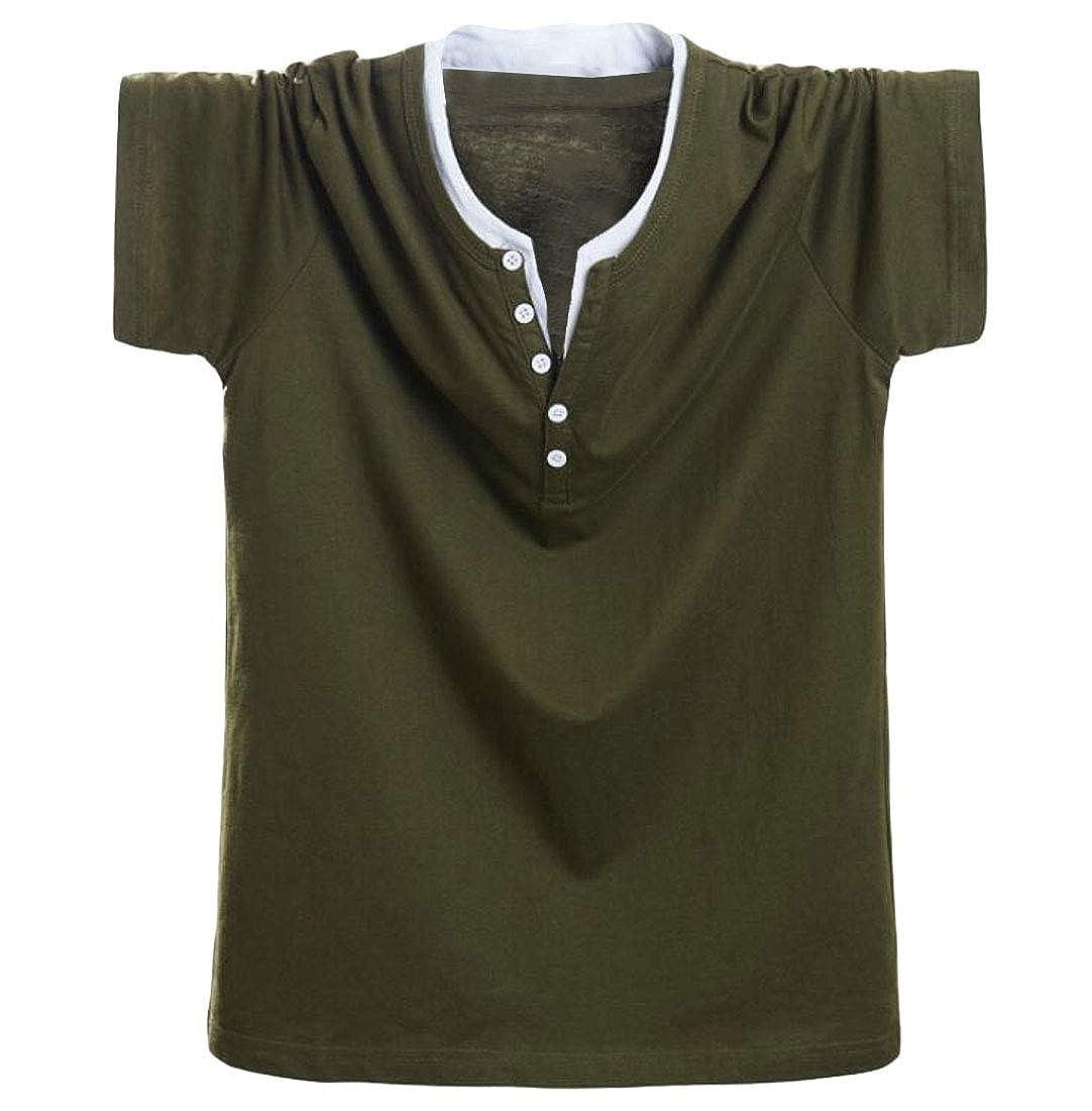 Hajotrawa Men Button Plus Size Pullover Short Sleeve Round Neck Tops T-Shirt