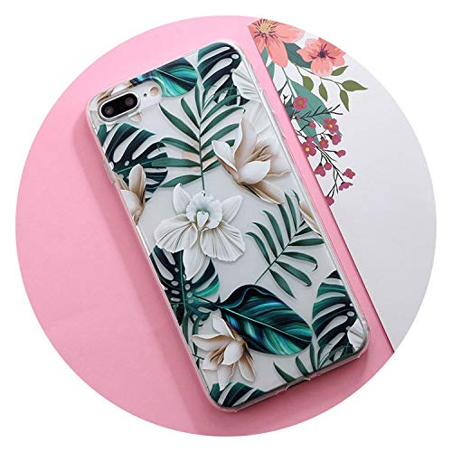 Flower Floral Plants Leaves Relief Silicone Case for iPhone Xs max XR for iPhone 6 6s 7 8 Plus 5s 5 SE X TPU Phone Case,IK111-T05BaiFlowe,for iPhone 5 5s SE