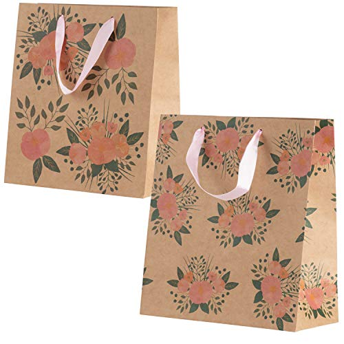 Floral Gift Bags – 24-Pack Kraft Treat Goodie Bags - for Birthday, House Warming, Bridal Shower, Baby Shower, Wedding | Two Watercolor Floral Designs with Handles, Medium, 9 x 8 x 3.9 Inches -