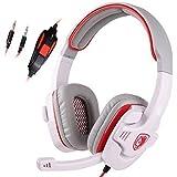 SADES SA708 - Cuffie Surround Stereo con Jack da 3.5mm per PC Gaming, Microfono ad Alta Sensibilità (bianco)