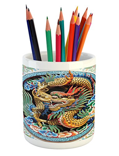 Lunarable Dragon Pencil Pen Holder, Ancient Legendary Chinese Dragon on Floral Backdrop Esoteric Dynasty Icon East Asian, Printed Ceramic Pencil Pen Holder for Desk Office Accessory, Multi