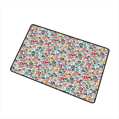 Modern Door mat Skulls Decorations Halloween Theme Colorful Skulls and Crossbones W16 xL20 Hard and wear Resistant -