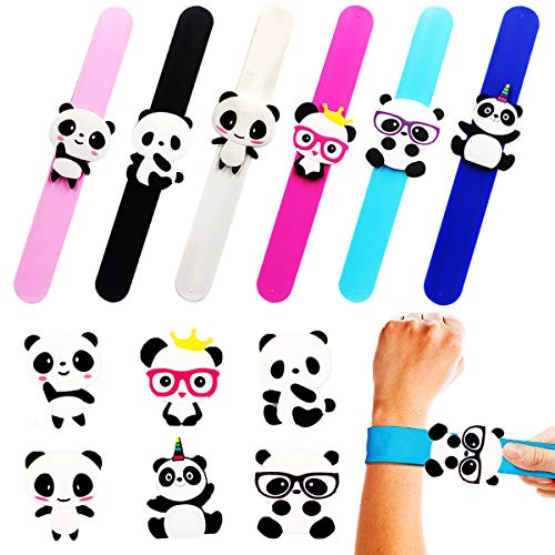 Mcree 6Pcs Panda Slap Bracelet Silicone Wristbands Dinosaur Party Supplies Kids Party Favors Decor Assorted Dinosaur Wristbands Novelty Toy School Prize Gifts Children Goodie Bag Fillers ()