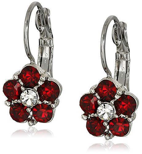 Earrings Crystal Drop Flower (1928 Jewelry Silver-Tone, Red and Crystal Flower Drop Earrings)