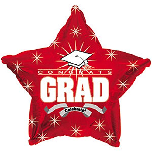 Star Shape Graduation Balloons School Colors - 5 Count (RED ()