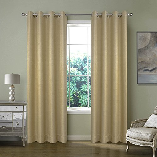 FirstHomer Nickle Grommet Top Room Darkening Thermal Insulated Heavy Weight Textured Tiny Plaid Linen For Bedroom curtains,Ivory,84Wx84L Inch(1 Panel)