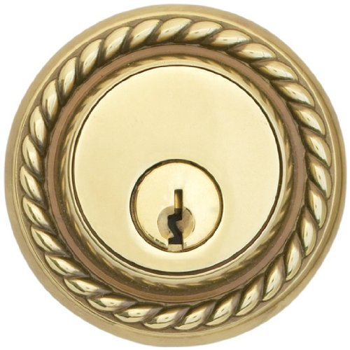 Emtek 8464-US3 Polished Brass Rope Style Single Cylinder Deadbolt (Rope Single Style)
