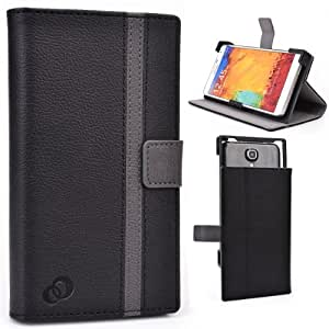 Black - Grey Universal Flip Cover with Built-in Stand Samsung SM-N9005 Galaxy Note 3 LTE Phone Cover