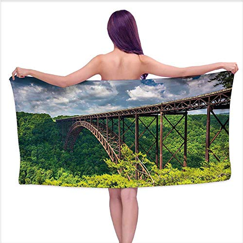 Hariiuet Bath Towel 3D Digital Printing Set USA,Canyon Rim Visitor Center Photo,W31 xL63 for Men red