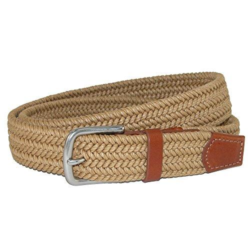 Straps Elastic Woven Satin - CrookhornDavis Men's Boca Braided Waxed Cotton Stretch Belt, 42, Light Tan