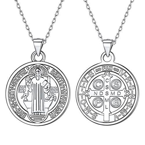 Silvora-Medallas-de-Plata-San-BenitoNudo-CeltaVirgen-MilagrosaArbol-de-FamiliaLibertad-de-PensamientoArcangel-Miguel-Collar-Plata-925-y-Monedas-Preciosas-para-Mujeres-Hombres