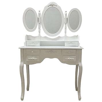 Grandes alta calidad elegante princesa estilo blanco tocador mesa ...